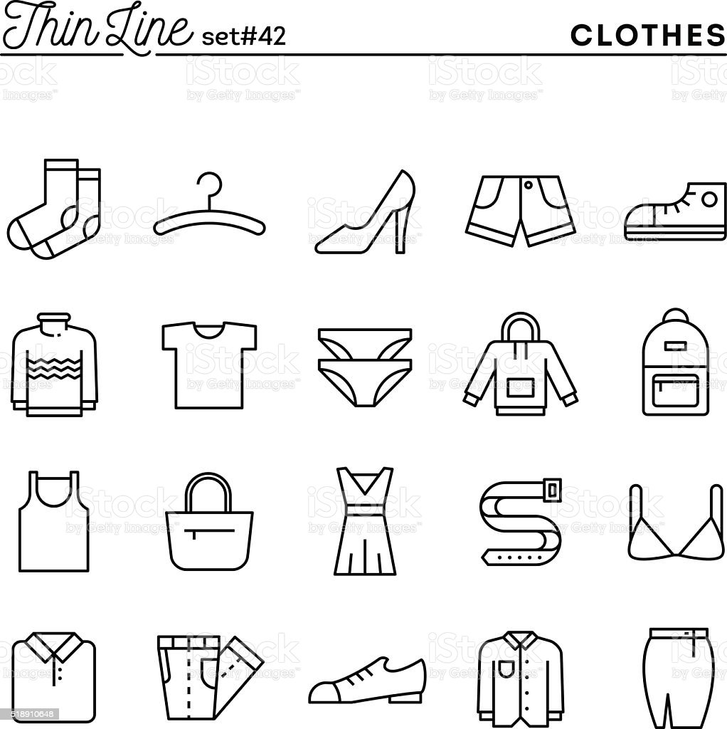 Clothing, thin line icons set vector art illustration