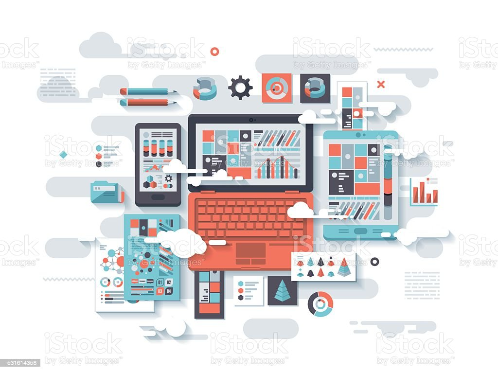 Cloud Analytics Flat Design Concept vector art illustration