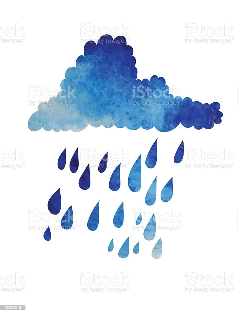 cloud and rain. vector art illustration