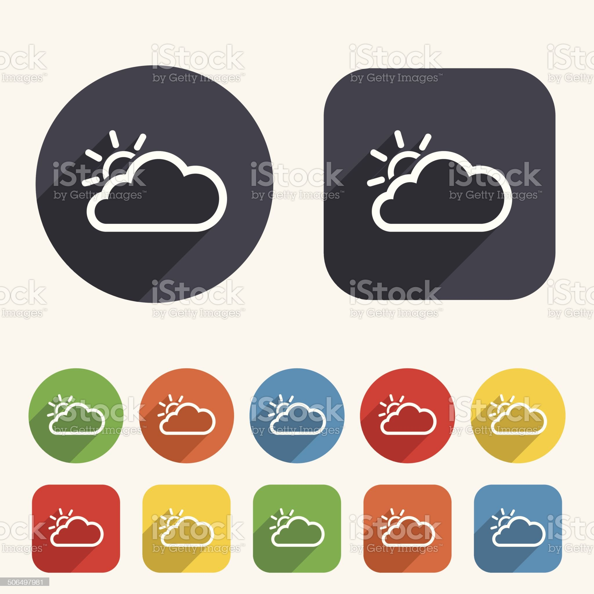 Cloud and sun sign icon. Weather symbol. royalty-free stock vector art