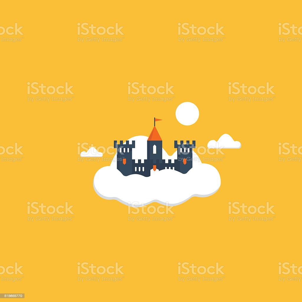 Cloud castle vector art illustration