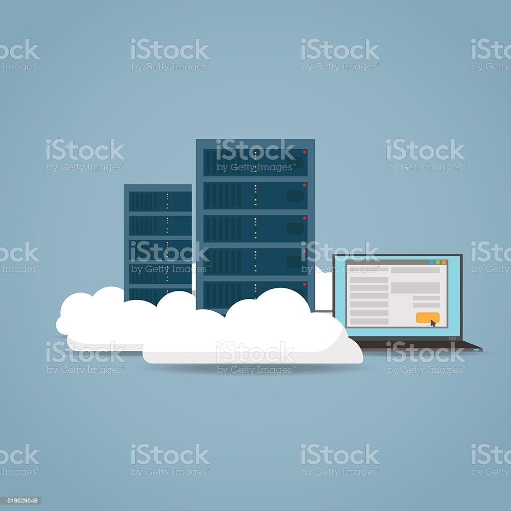 Cloud computer concept vector art illustration