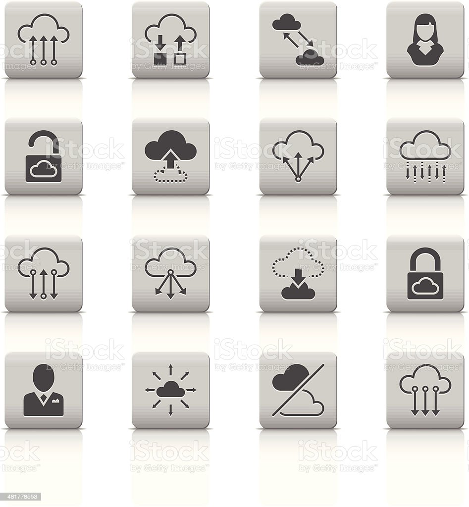 Cloud Computer icons vector art illustration