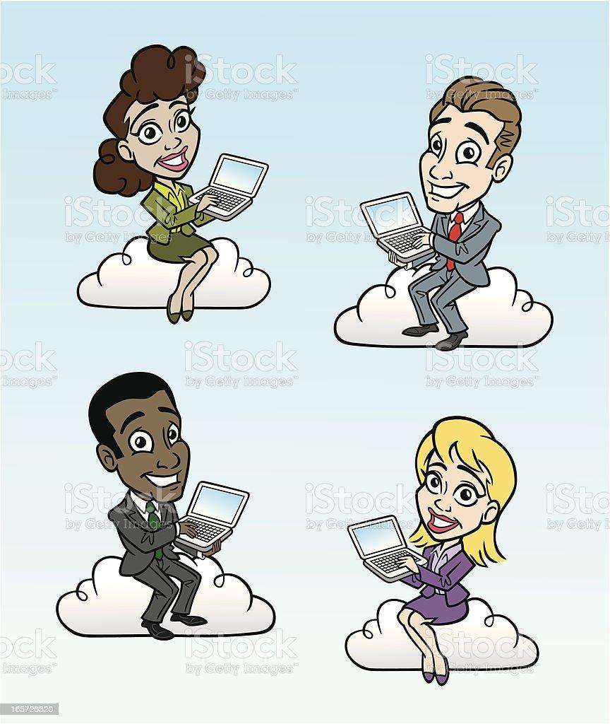 Cloud Computer People vector art illustration