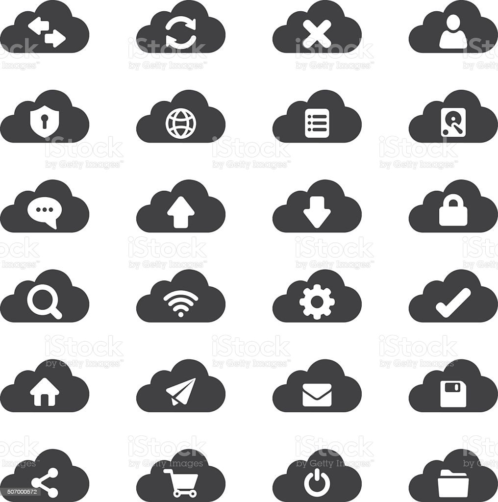 Cloud computer Silhouette icons | EPS10 vector art illustration
