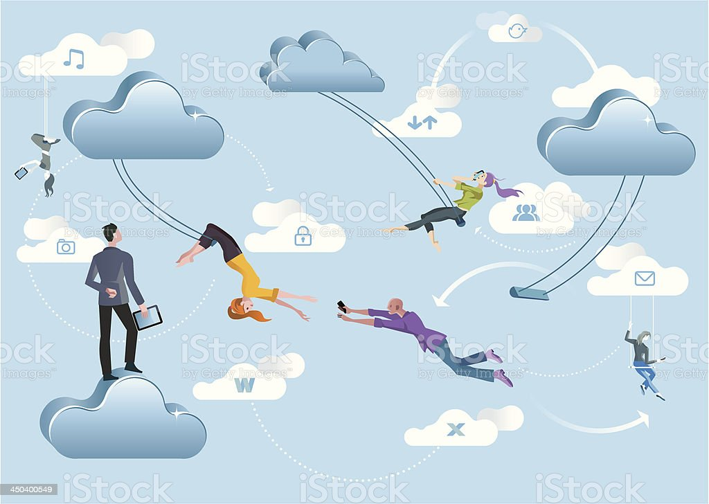 Cloud Computing Acrobats vector art illustration