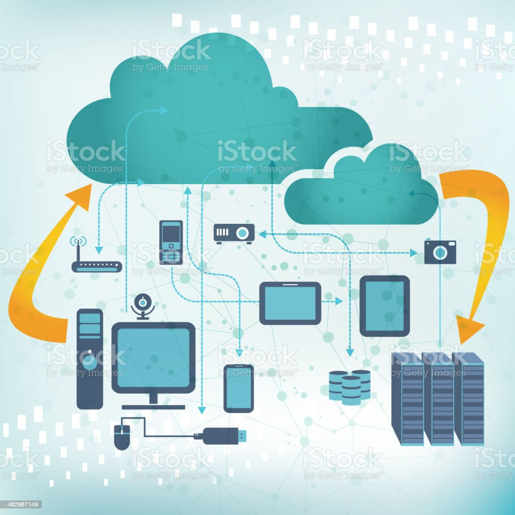 cloud computing and computer network concept vector art illustration