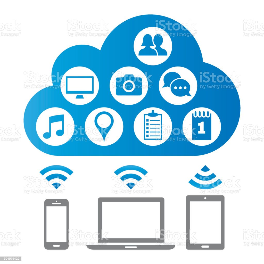 Cloud computing and media icons vector art illustration