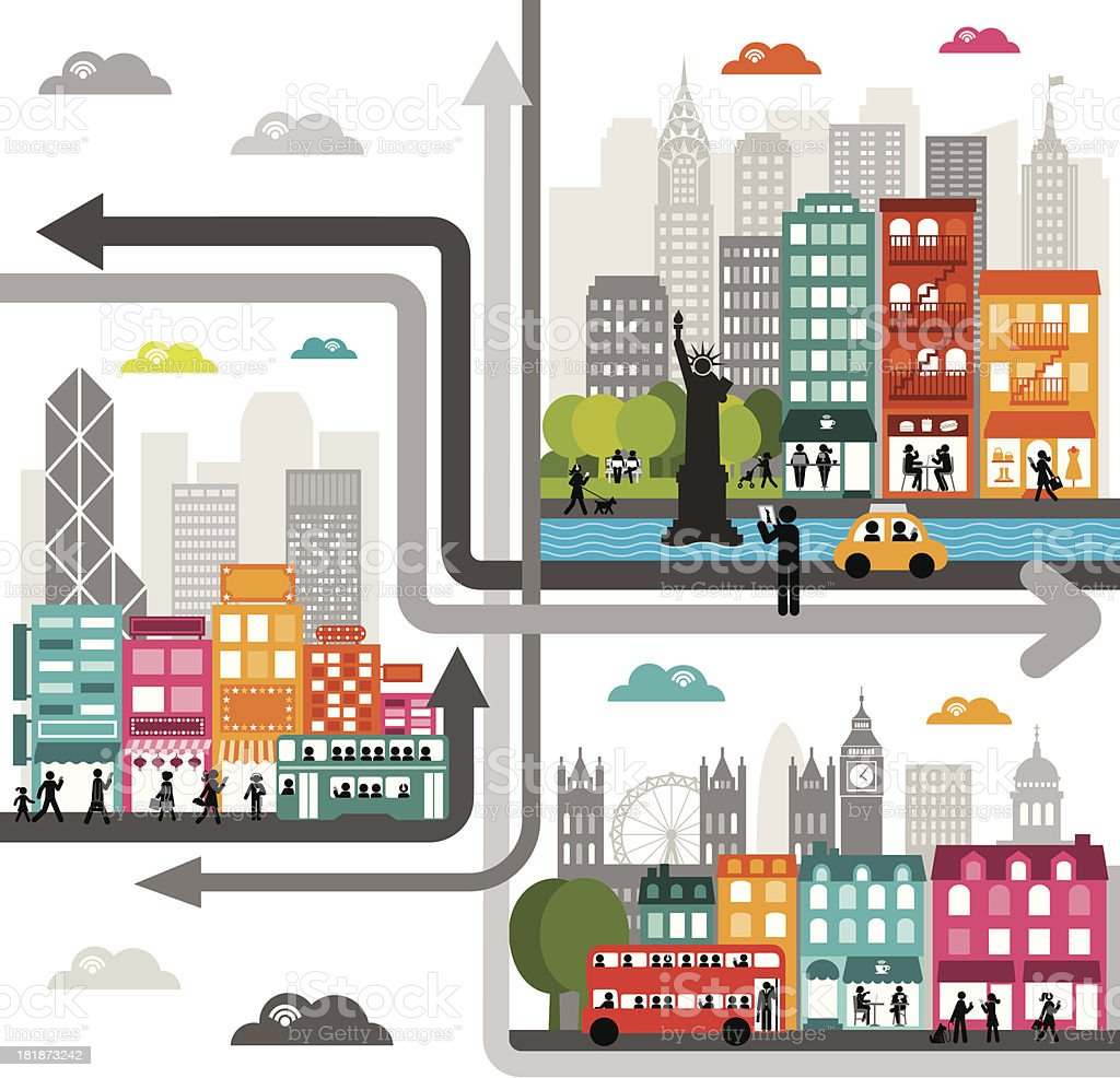 Cloud Computing Around The World vector art illustration