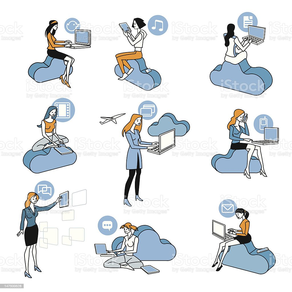 Cloud Computing Blue Girls Set royalty-free stock vector art