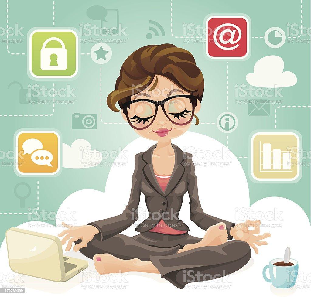 Cloud Computing Business Woman vector art illustration