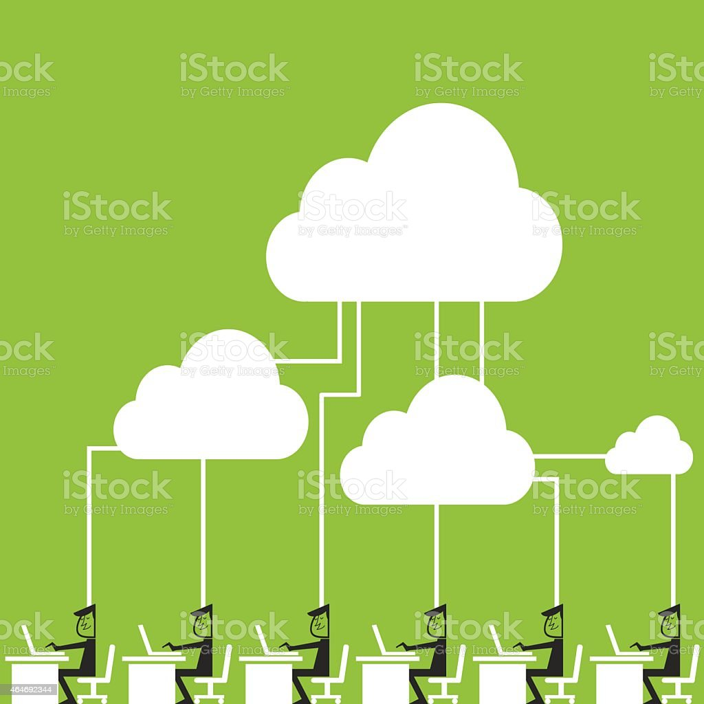 Cloud computing Businessmen connecting to cloud storage vector art illustration