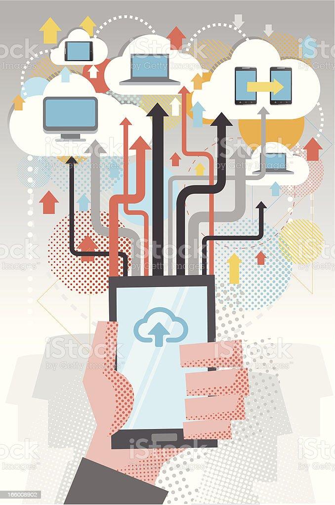 Cloud computing by mobile royalty-free stock vector art