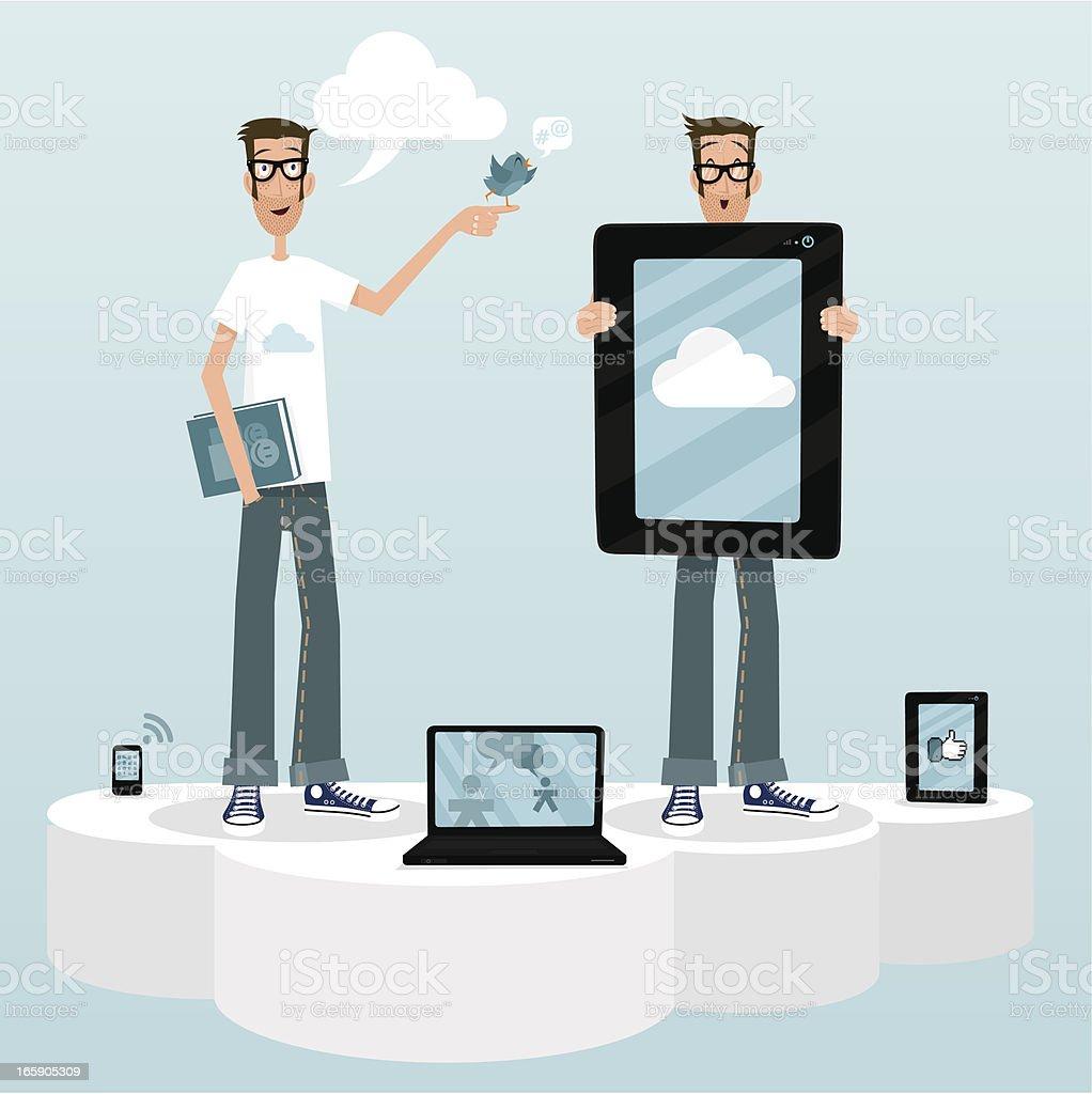 cloud computing cm community manager tablet smartphone laptop social media royalty-free stock vector art