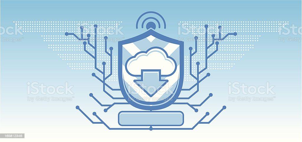 Cloud computing coat of arms royalty-free stock vector art