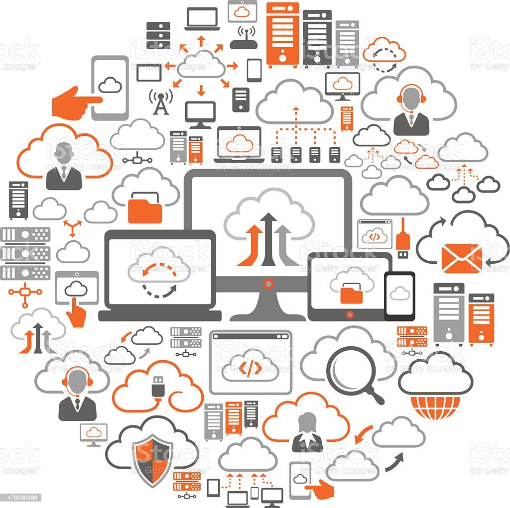 Cloud Computing Collage vector art illustration