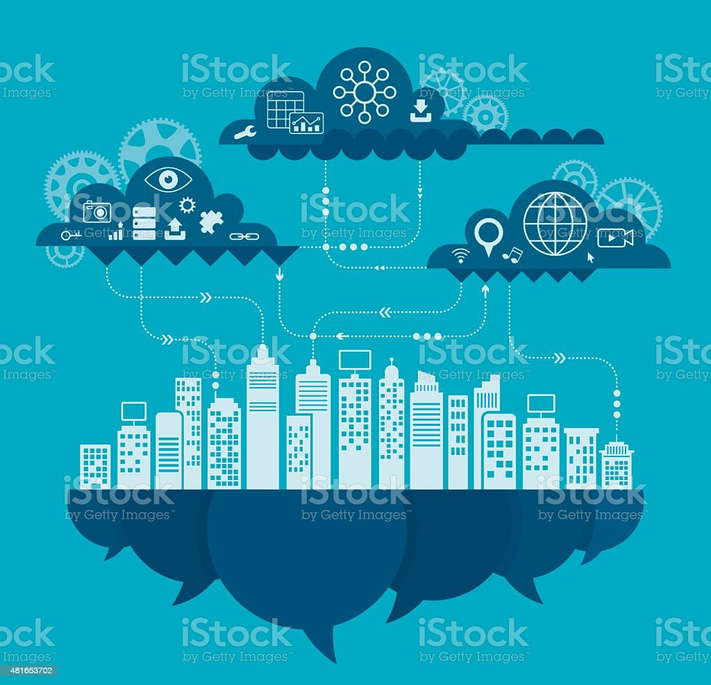 Cloud Computing Concept Including Icon Set vector art illustration