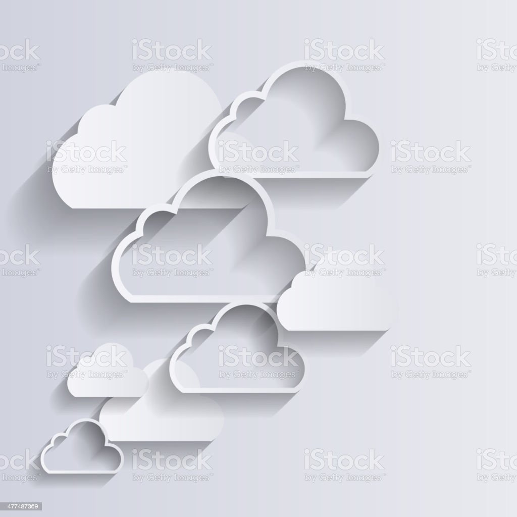 Cloud Computing Concept on Different Electronic Devices. Vector vector art illustration