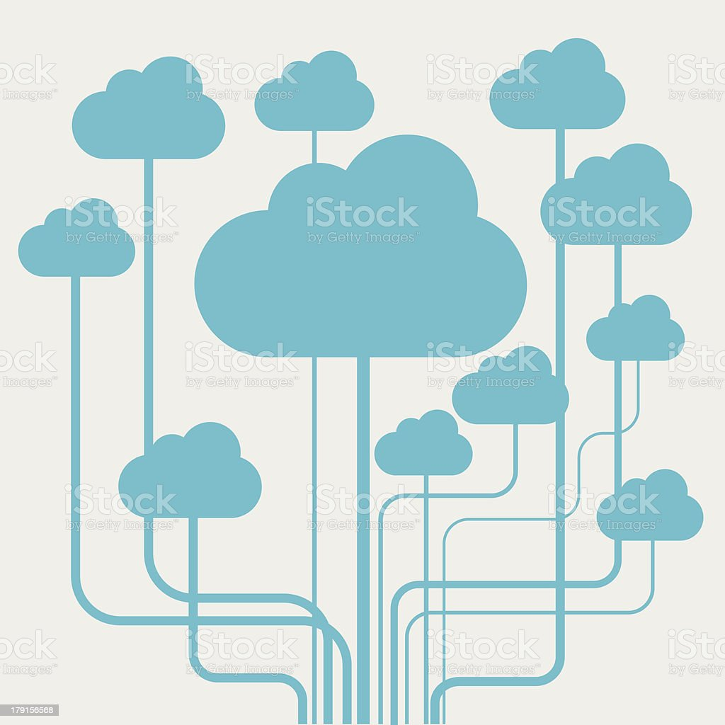 Cloud computing concept vector art illustration