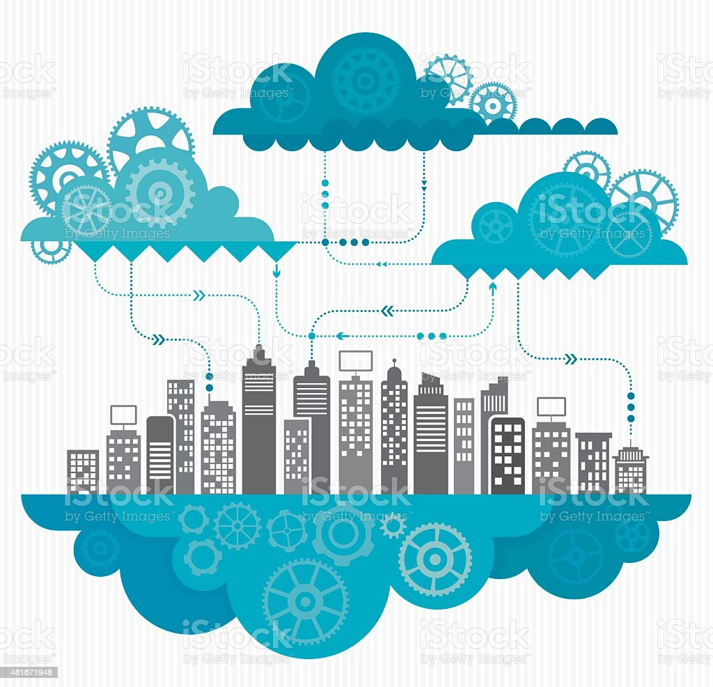 Cloud Computing Concept With Gears vector art illustration