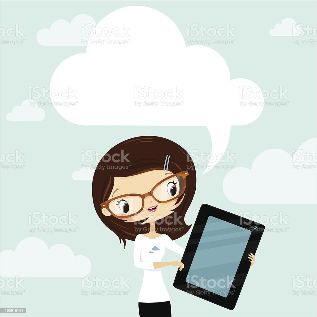 Cloud Computing concept. Woman showing a tablet royalty-free stock vector art