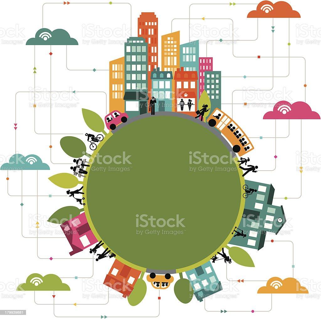 Cloud computing connects communities worldwide vector art illustration