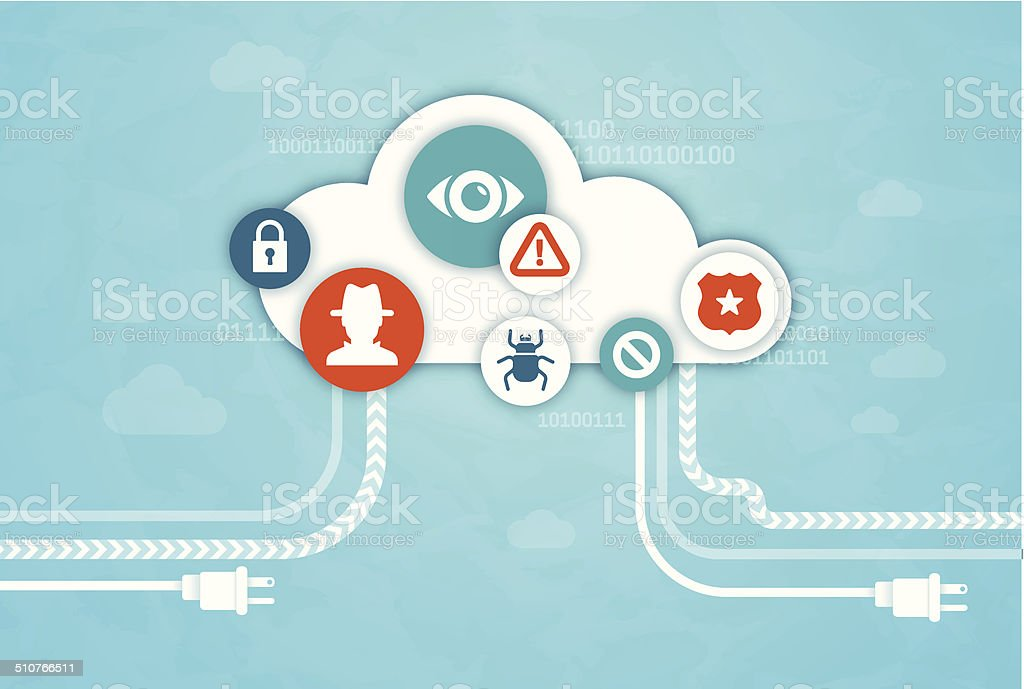 Cloud Computing Dangers vector art illustration