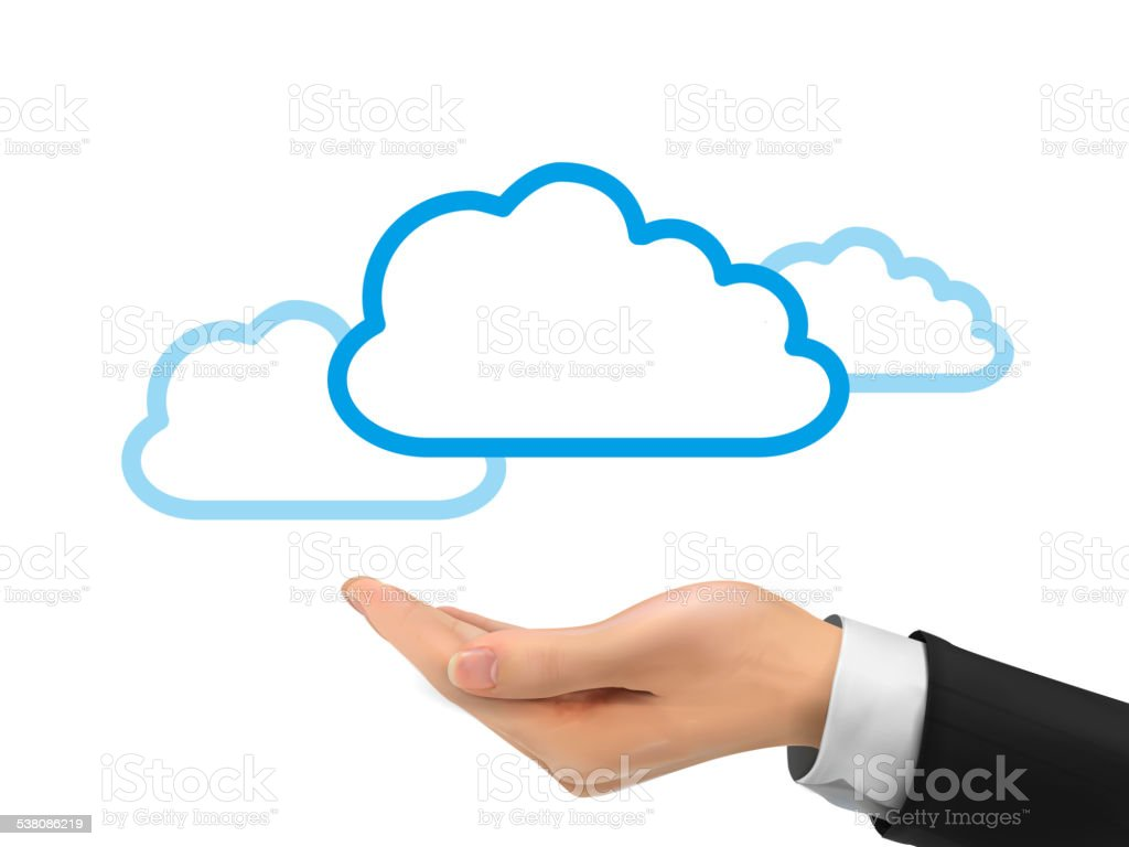 cloud computing icon holding by realistic hand vector art illustration
