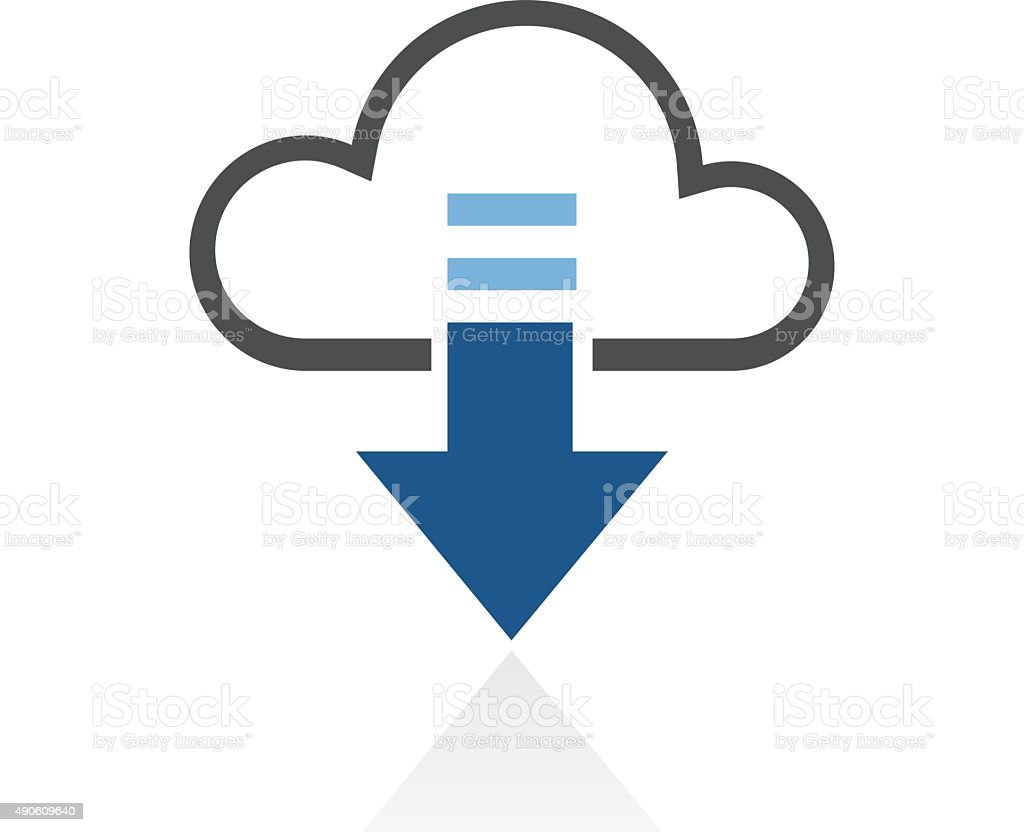 Cloud Computing icon on a white background. - RoyalSeries vector art illustration