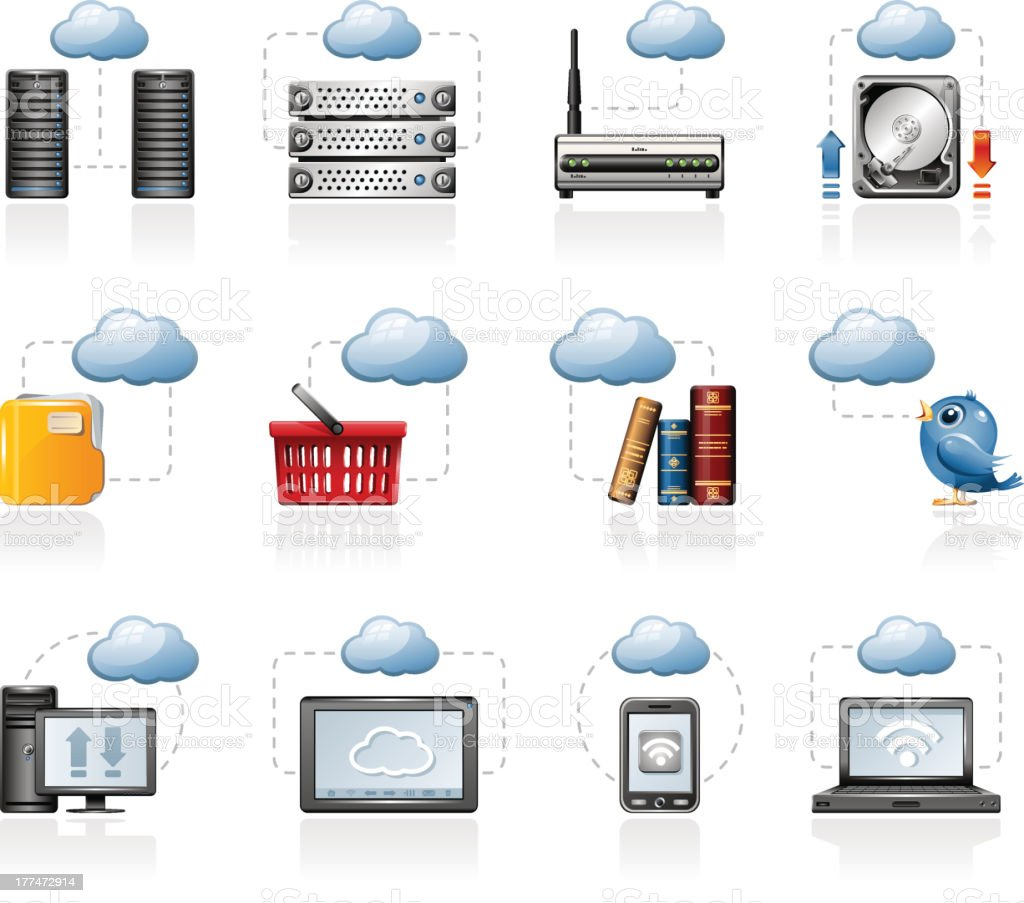Cloud computing icon set design on white royalty-free stock vector art