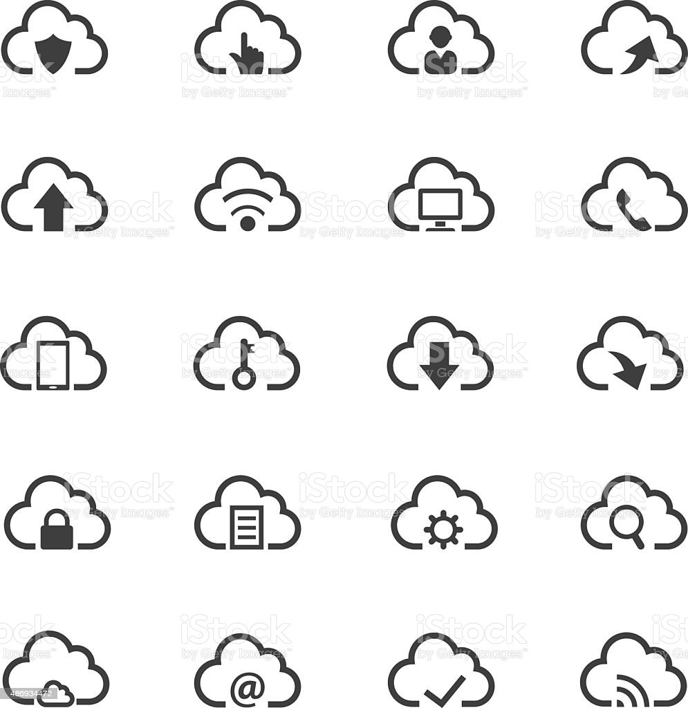Cloud computing icon set vector art illustration