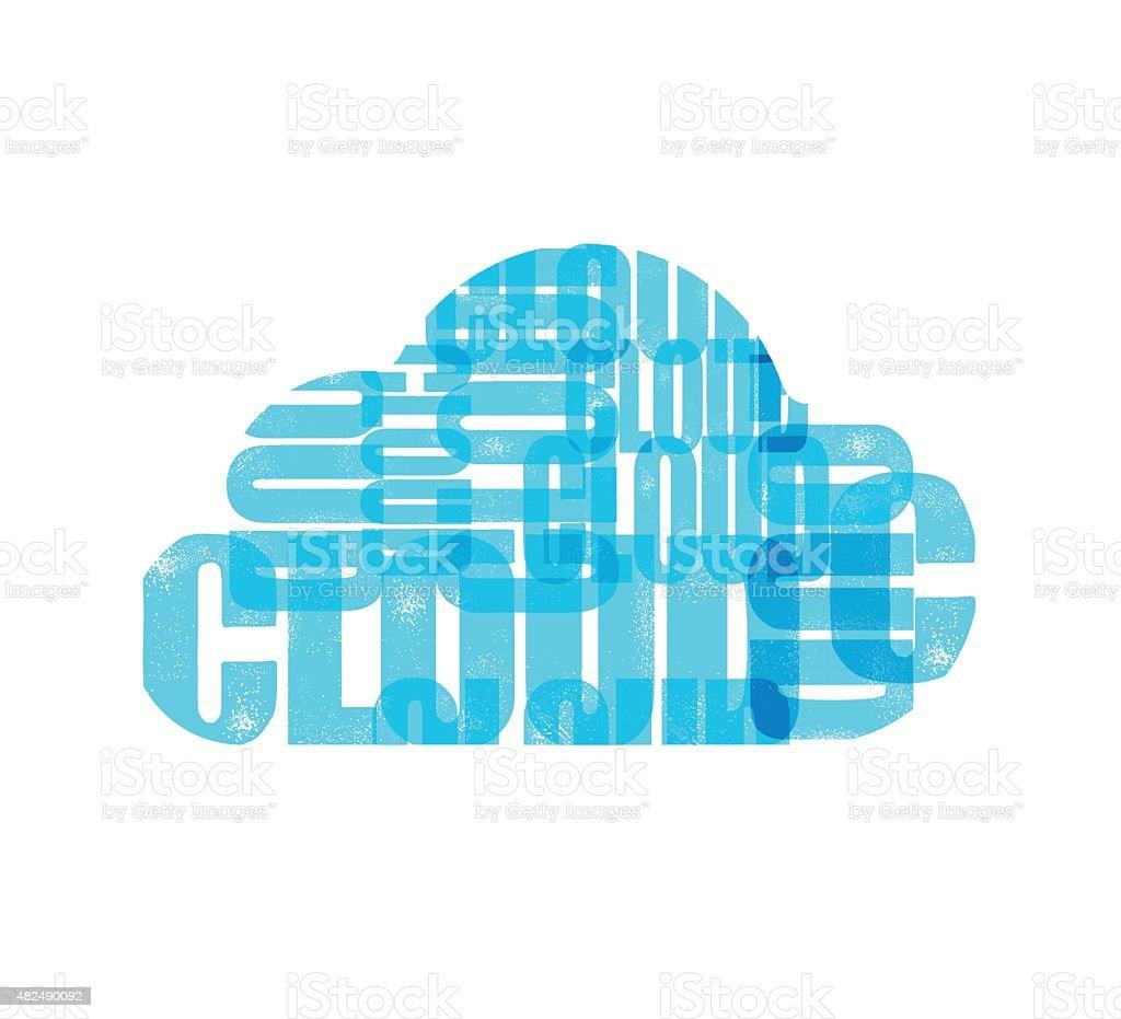 cloud computing icon, various colours vector art illustration