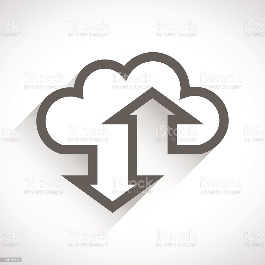 Cloud computing icon with long shadows isolated on white vector art illustration