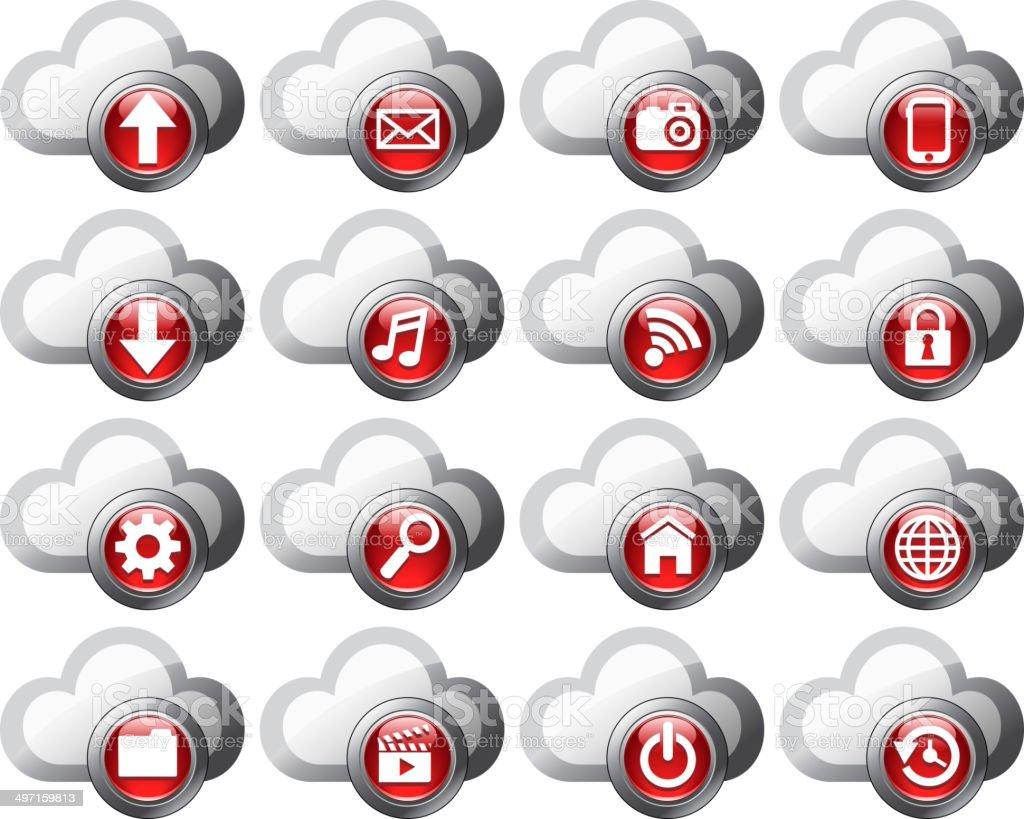 Cloud Computing icons SET ONE vector art illustration