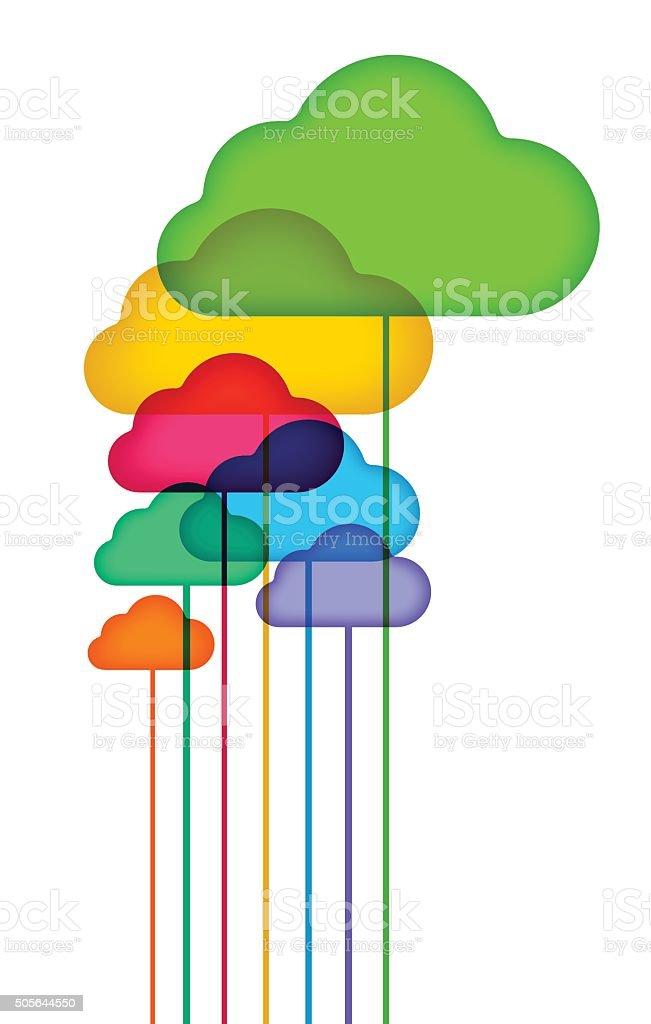 cloud computing icons, various colours vector art illustration