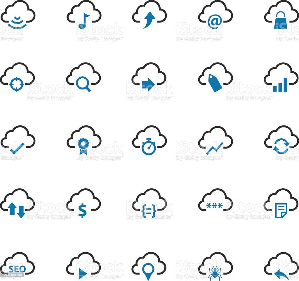 Cloud computing icons vector art illustration