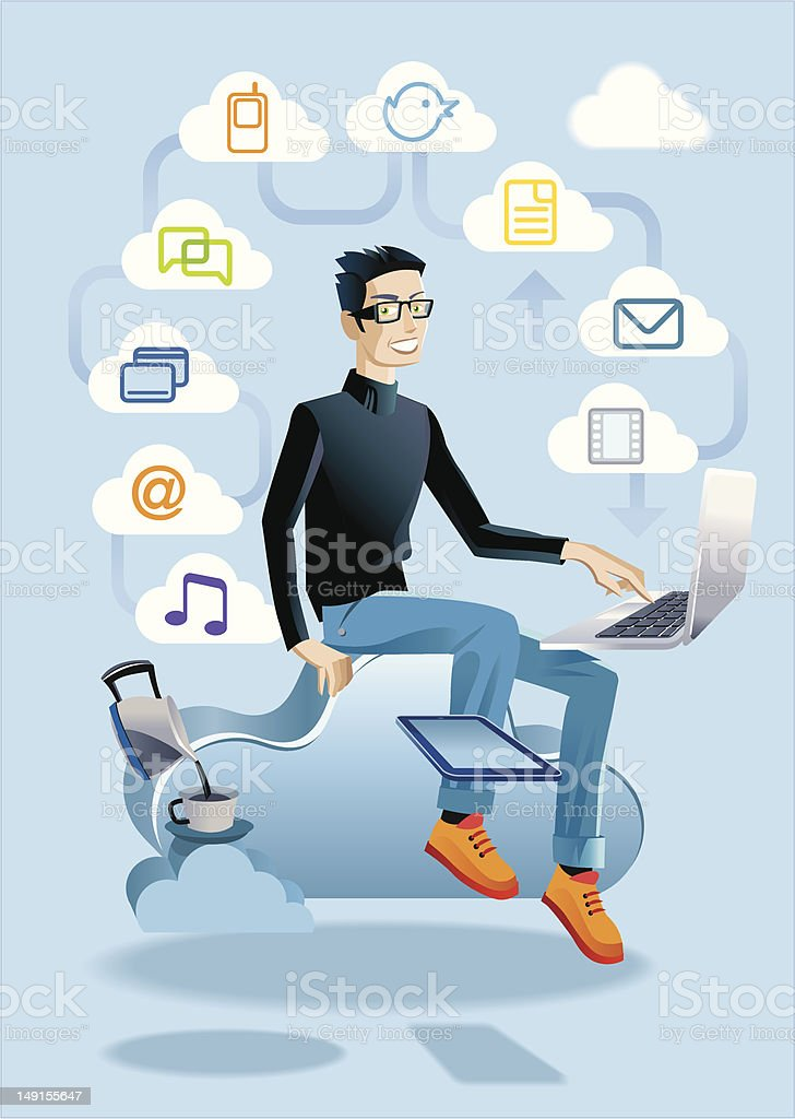Cloud Computing Man With Laptop royalty-free stock vector art