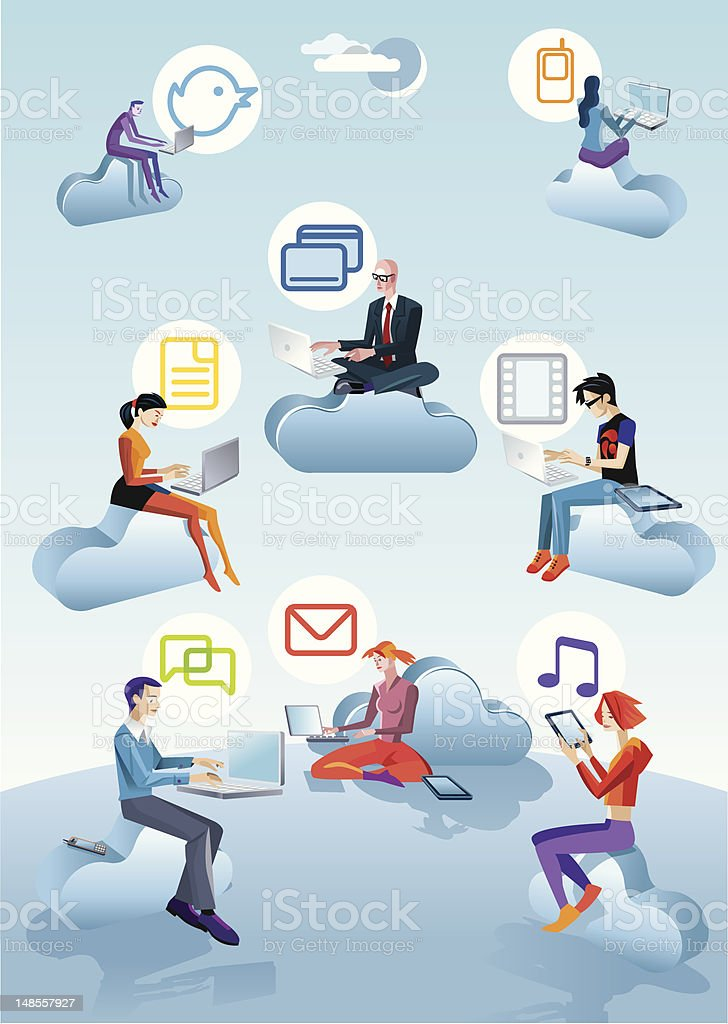 Cloud Computing Men Women And Icons royalty-free stock vector art