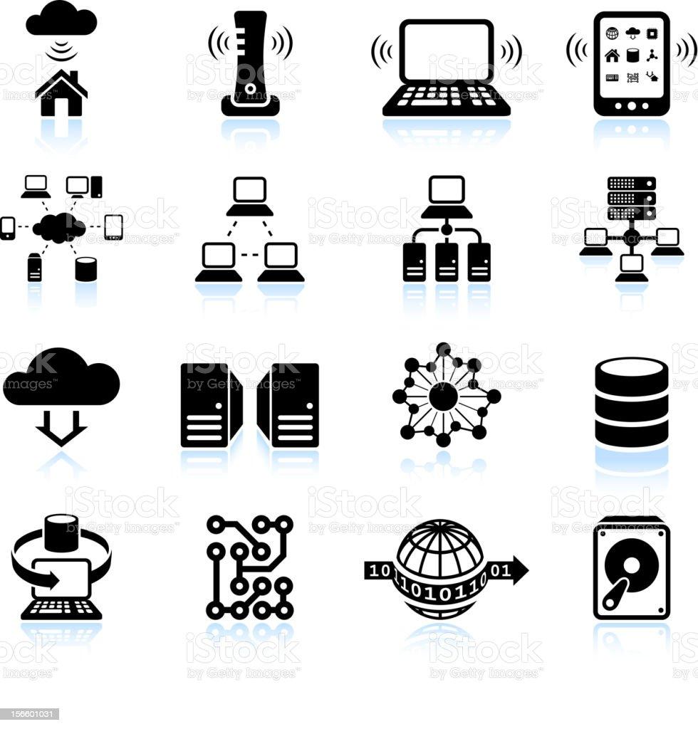 Cloud computing modern technology black and white icon set vector art illustration