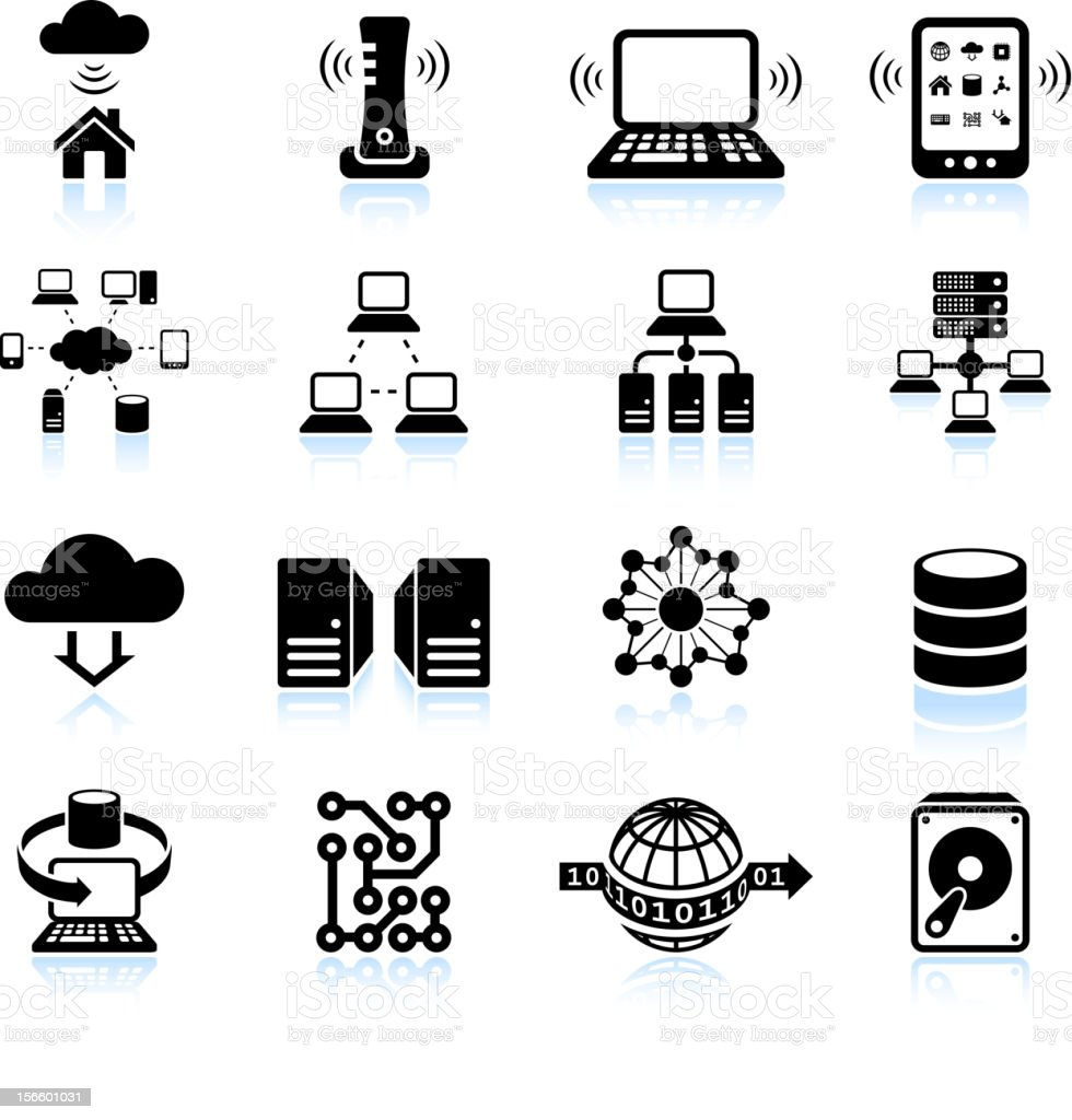 Cloud computing modern technology black and white vector icon set vector art illustration