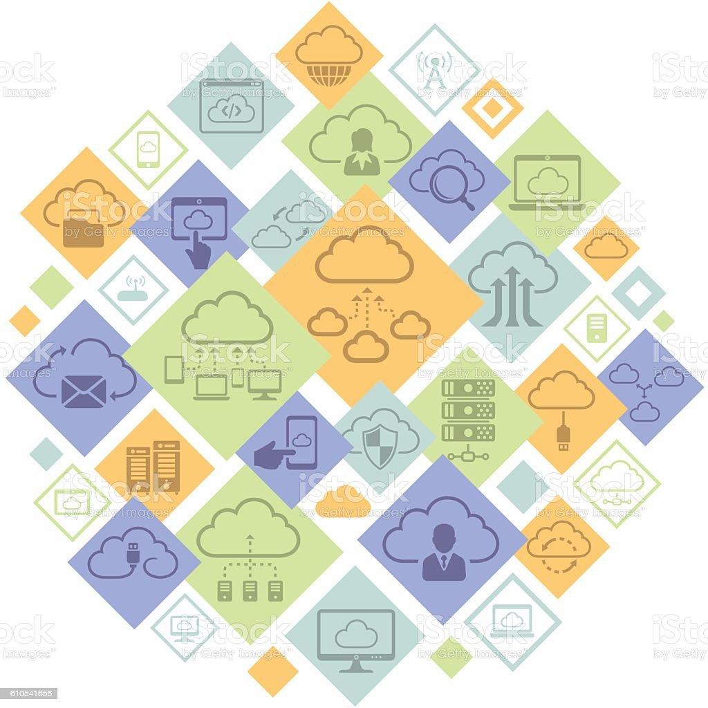 Cloud Computing Montage vector art illustration