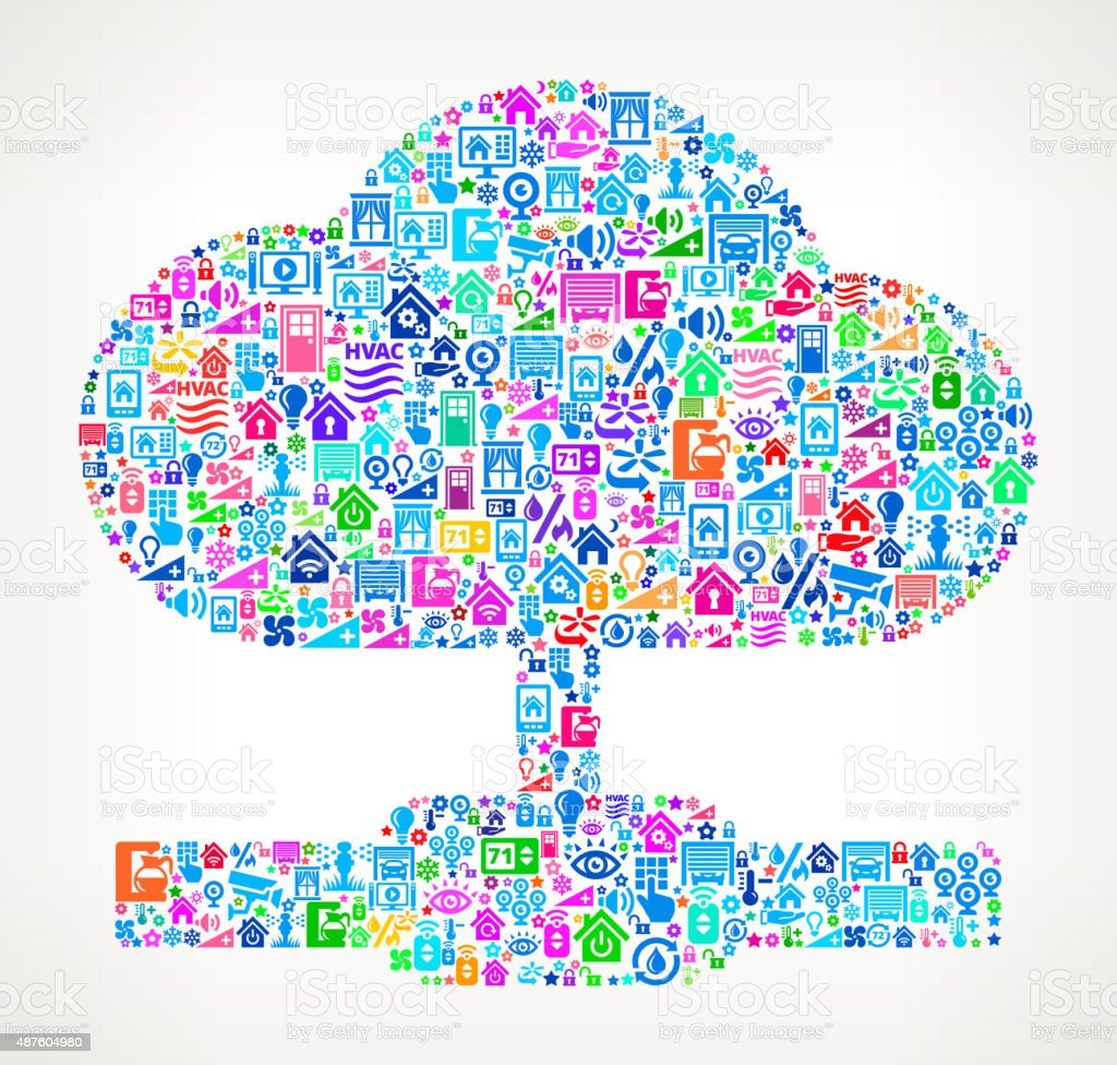 Cloud Computing on Home Automation and Security Vector Background vector art illustration