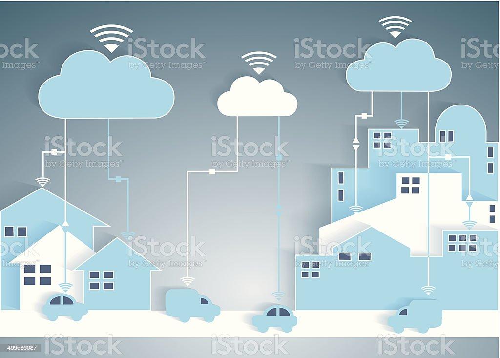 Cloud Computing Paper Cutout City and Suburb Network vector art illustration