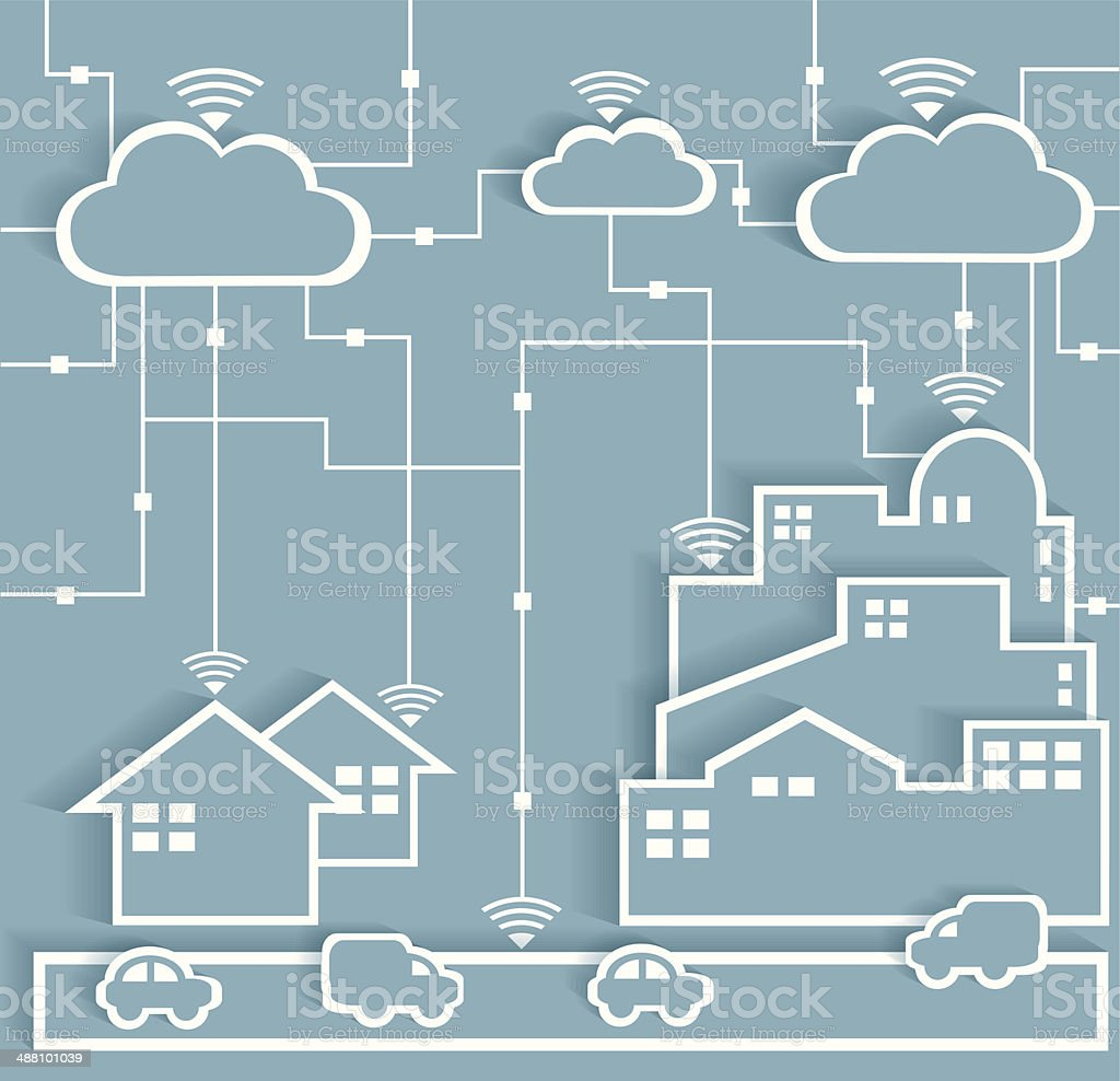 Cloud Computing Paper Cutout Stickers City and Suburb Network vector art illustration