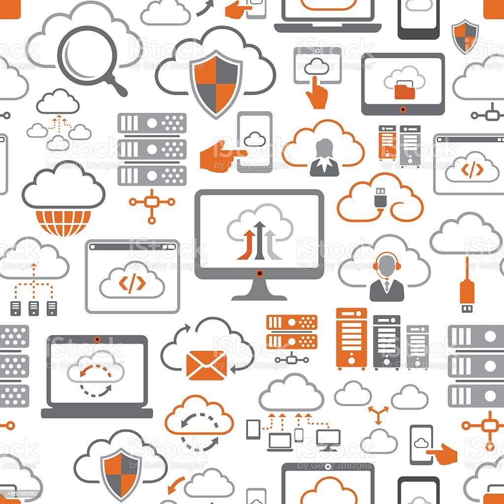 Cloud Computing Pattern vector art illustration