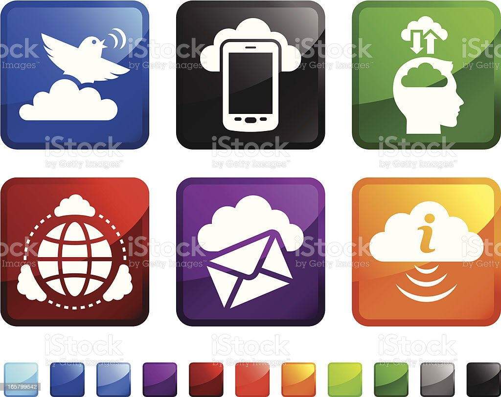 Cloud Computing royalty free vector icon set stickers royalty-free stock vector art