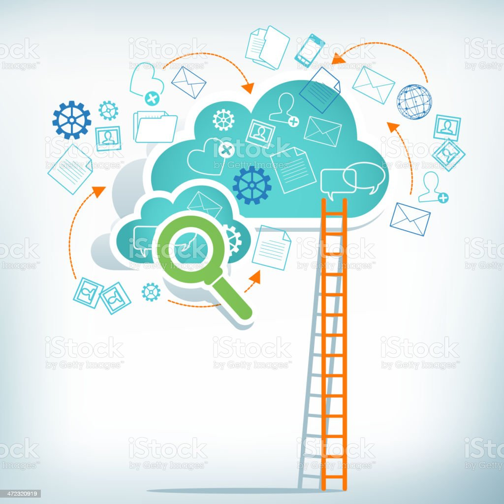 Cloud Computing Search and Access royalty-free stock vector art
