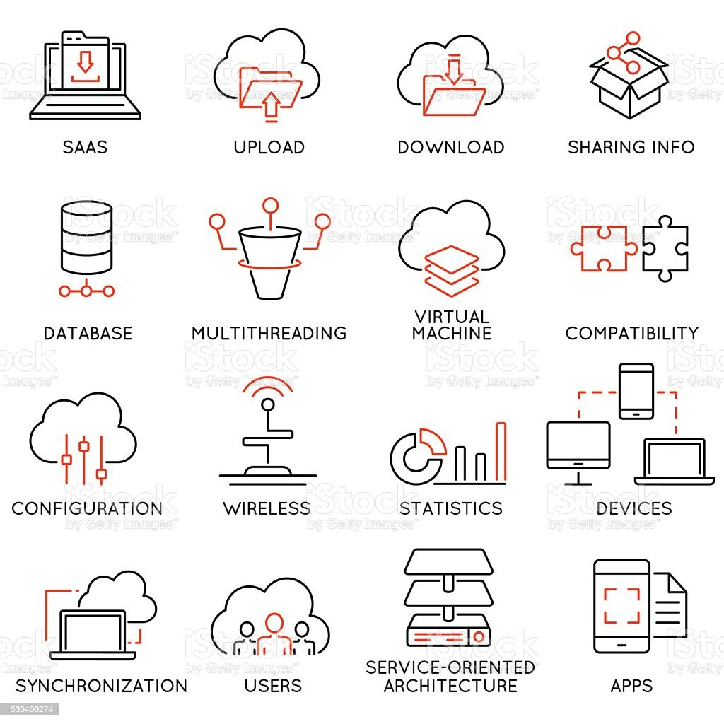 Cloud computing service and data storage - part 2 vector art illustration