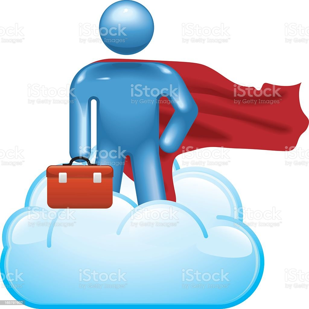 Cloud Computing: Superhero Support royalty-free stock vector art