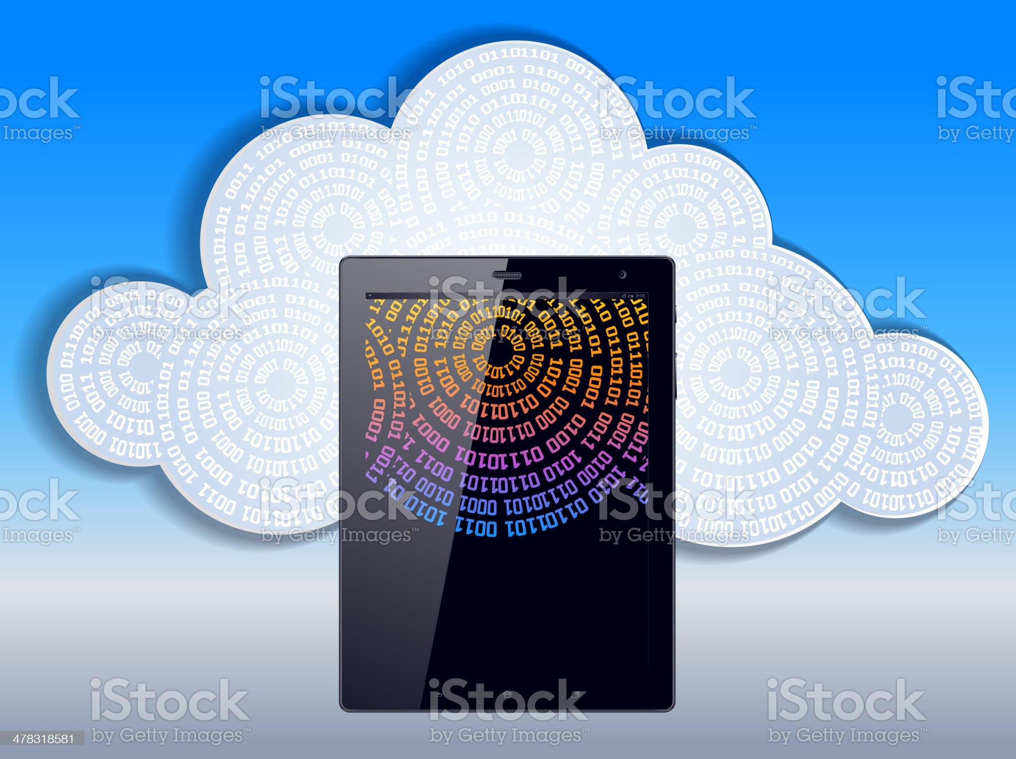 Cloud computing, tablet pc royalty-free stock vector art